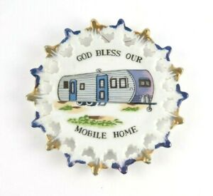 Vintage God Bless Our Mobile Home Decorative Plate Camper Motor Home Theme