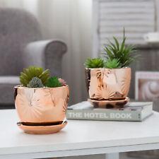 MyGift Set of 2 Rose Gold Starburst Design Ceramic Planter with Attached Saucer