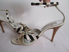 Christian Lacroix Sandals Ankle Strap Leather Fabric Size 40 EU 9-9.5 US