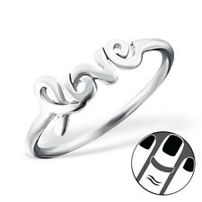 TJS 925 Sterling Silver Midi Ring Love US Size 3.5 Fine Body Jewellery Stackable