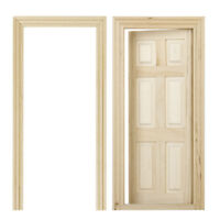 Unfinished Interior 6-Panel Wooden Door DIY for 1/12 Dollhouse Miniatures