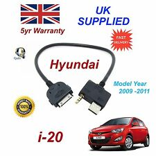 For Hyundai i20 For iPhone 3 3gs 4 4S iPod USB & Aux Audio Cable MY 2009-11
