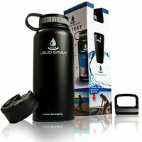 Liquid Savvy 32 oz Insulated Water Bottle with 3 lids - Stainless Steel, Wide...
