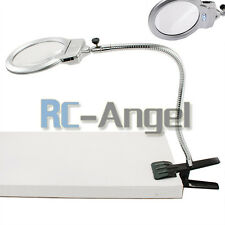 Magnifying Glass DeskTable Lamp With 2.25X 5X Magnifier With 2 LED Lighting US