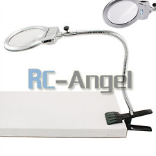 Magnifying Glass DeskTable Lamp With 2X 6X Magnifier With 2 LED Lighting US