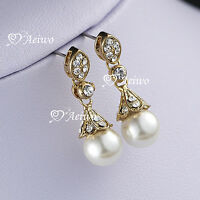 18k yellow gold gf made with swarovski crystal pearl stud earrings fashion AEIWO