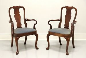 HICKORY CHAIR Solid Mahogany Queen Anne Style Dining Armchairs - Pair