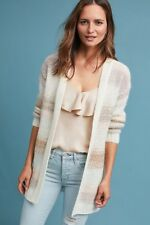 NWT Anthropologie Numph Ivory Metallic Striped Open Front Sweater Cardigan L