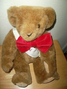 The Vermont Co Teddy Bear Valentine's Day with Red Bow Tie Plush Stuffed