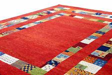 "5'6"" x 7'9"" French Field Red Gabbeh 100% Woollen Hand Knotted Rug & Carpet"