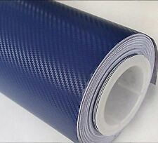New 3D NAVY BLUE Carbon Fibre Vinyl Wrap Sheet Film Sticker 30cm x 1.52m
