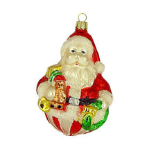 Christmas Ornaments Santa Claus with Gifts Red White 11cm Handpainted Lauscha