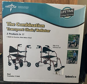 MEDLINE THE COMBINATION TRANSPORT CHAIR / ROLLATOR - RED
