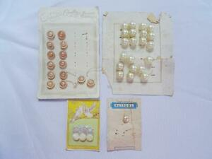 Vintage Buttons 1930s on Original Display Cards Mother of Pearl Pearlised x 4