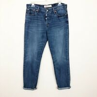 Gap 1969 Relaxed Boyfriend Jeans Size 29 Medium Wash Faded Whiskered Button Fly