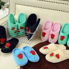 Women Candy Color Soft Embroidery Rose Flower Indoor Flat Slippers Home Shoes