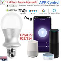 Dimmable E27 E26 RGB LED Wifi Smart Light Bulbs For Amazon Alexa Google Home