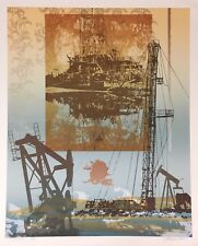Vintage Mid Century Modern Abstract Signed Serigraph Print Oilfield Drilling Rig
