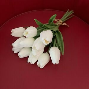 1X LATEX WHITE REAL TOUCH TULIP BUDS TULIPS WEDDING BOUQUET FLOWER FLOWERS