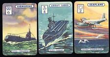 Rare 1940s WWII Royal Navy WARSHIPS SWAP CARDS HMS EAGLE Triumph + Seaplane.