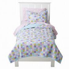 2 Pc Circo Pretty Patches Patchwork Twin Quilt + Sham Bedspread Pink Blue Purple