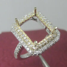 8x10mm Emerald Cut Solid 14kt White Yellow Gold Natural Diamond Semi Mount Ring