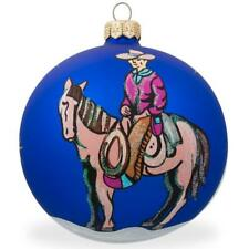 Cowboy on Horse Glass Ball Christmas Ornament 4 Inches