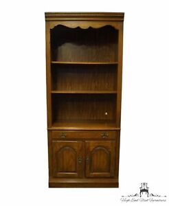 """BERNHARDT FURNITURE Oak Rustic Country French 33"""" Open Bookcase / Wall Unit 2..."""