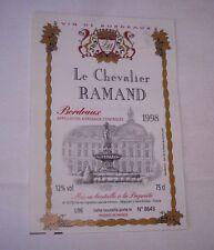 Etiquette vin Bordeaux LE CHEVALIER RAMAND  1998 Lalande-Moreau Saint-Emilion