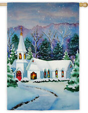 """Christmas Eve Country Church Snow Glitter 2 Sided 29"""" x 43"""" Large Banner Flag"""