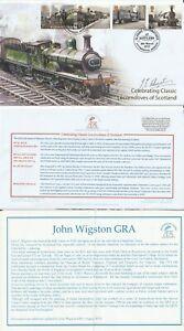 8 MAR 2012 LOCOMOTIVES OF SCOTLAND FIRST DAY COVER SIGNED ARTIST JOHN WIGSTON b