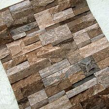 Realistic Slate Stone Brick Wall 3D Effect Textured Vinyl Wallpaper