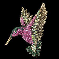 Brosche und Anhänger Kolibri Vogel, bunte Kristalle, antikgoldfarbenes Metall