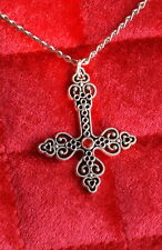 INVERTED CROSS NECKLACE w/ Red Jem - goth deathrock steampunk biker satanic evil