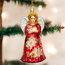 Old World Christmas Ornament-Red Poinsettia Angel