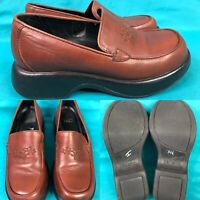 Womens DANSKO Brown Leather Platform Loafers Shoes SIZE 37 US 6.5-7