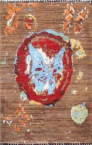 Abstract Super Kazak Oriental Area Rug Vegetable Dye Hand-knotted 4'x4' Square
