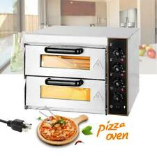 110v Stainless Steel Electric Pizza Ovens Double Deck Toaster Bake Broiler Ovens