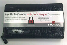 Mundi / My Big Fat Wallet / BLACK SHINEY / Faux Croc/ Safe Keeper NIB / Reg $38