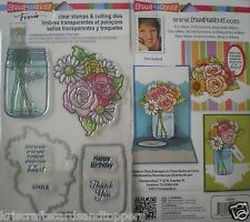 Stampendous Clear Stamps & Dies GREETINGS Mason Jar + Flowers ~ NEW