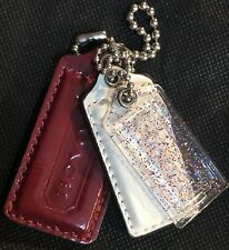 COACH Poppy Fob Clear Plastic Sparkly Glitter Red,White&Blue Patent Leather NWOT