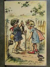 cpa illustrateur signée germaine bouret chasseur lievre humoristique humour