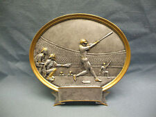 Baseball male trophy resin oval plaque large 54503Gs