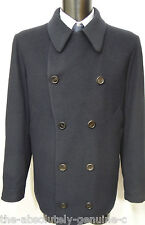 AQUASCUTUM Navy BLUE Slightly Padded/Quilted Pea Coat Jacket WOOL Mix BNWT UK 44