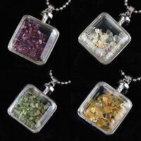 Natural Amethyst Rose Quartz Crystal Gravel Stone Wishing Bottle Pendant Jewelry