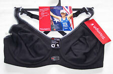 Triumph Ladies TriAction Black Sports Minimiser Bra Size 12C New