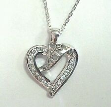 """Sterling Silver """"Mom"""" Pendant Necklace Mothers Day CZ"""