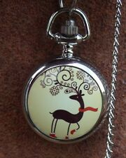 Christmas deer art mini necklace pendant pocket watch vintage style