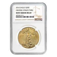 2016 1 oz $50 Gold American Eagle NGC MS 69 Mint Error (Obv Struck Thru)