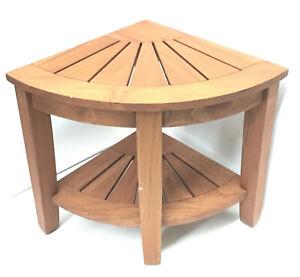 "Corner Teak Shower Bench with Shelf , 17.5"" H x 16"" W"